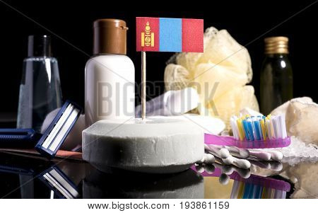 Mongolian Flag In The Soap With All The Products For The People Hygiene