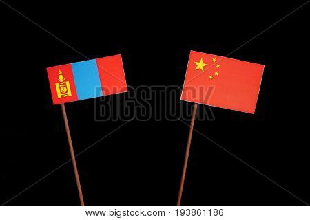 Mongolian Flag With Chinese Flag Isolated On Black Background