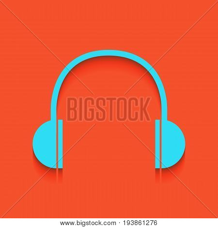 Headphones sign illustration. Vector. Whitish icon on brick wall as background.
