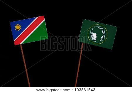 Namibian Flag With African Union Flag Isolated On Black Background