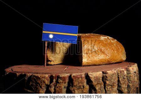Nauru Flag On A Stump With Bread Isolated