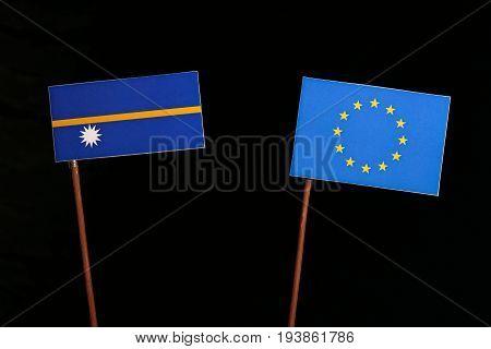 Nauru Flag With European Union (eu) Flag Isolated On Black Background
