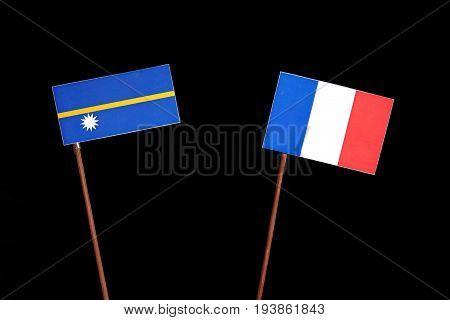 Nauru Flag With French Flag Isolated On Black Background