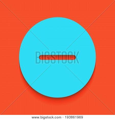Negative symbol illustration. Minus sign. Vector. Whitish icon on brick wall as background.