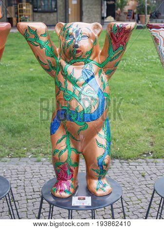 BERLIN GERMANY - JULY 3 2017: United Buddy Bears: Angola Bear At Wittenbergplatz Square In Berlin