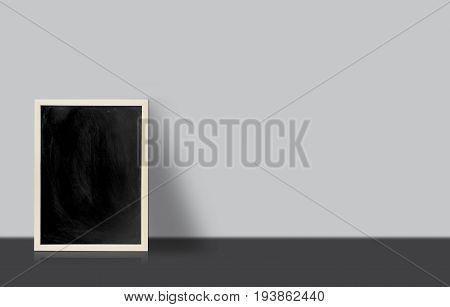 Blank Chalkboard, Blackboard On Floor With White Wall With Copy Space, Blackboard On Floor For Graph