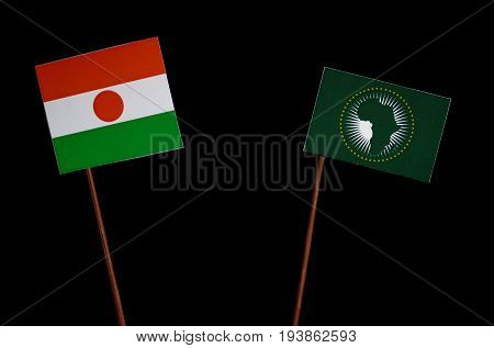 Niger Flag With African Union Flag Isolated On Black Background