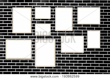 The picture frame on brick wall background
