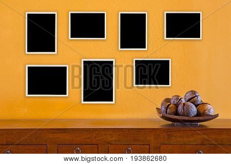 The picture frame on wall a background