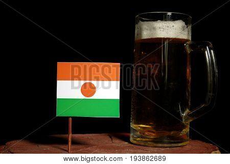 Niger Flag With Beer Mug Isolated On Black Background