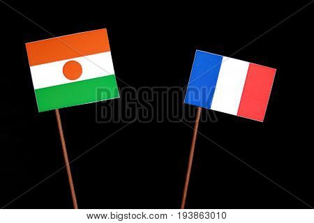 Niger Flag With French Flag Isolated On Black Background