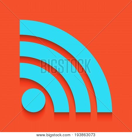 RSS sign illustration. Vector. Whitish icon on brick wall as background.