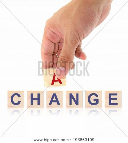 Finger pick a wood letters of Change and Chance word concept