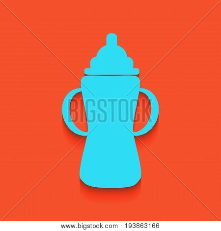 Baby bottle sign. Vector. Whitish icon on brick wall as background.