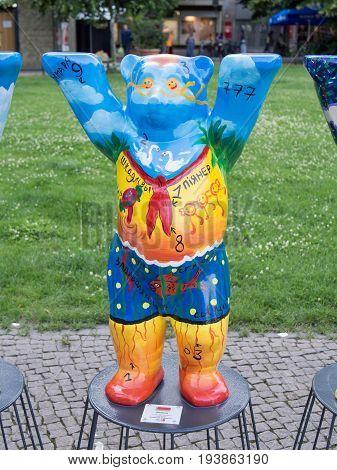 BERLIN GERMANY - JULY 3 2017: United Buddy Bears: Belarus Bear At Wittenbergplatz Square In Berlin
