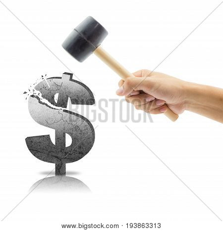 Dollor With Hand Holding Hammer, Breaking Statistics Finance With Hammer, Business Concept