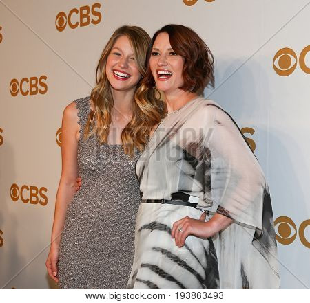Actors Melissa Benoist (L) and Chyler Leigh attend the 2015 CBS Upfront at The Tent at Lincoln Center on May 13, 2015 in New York City.