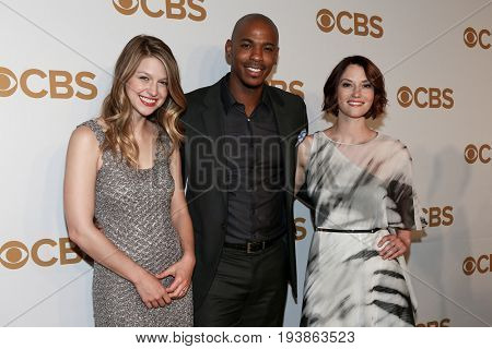 (L-R) Actors Melissa Benoist, Mehcad Brooks and Chyler Leigh attend the 2015 CBS Upfront at The Tent at Lincoln Center on May 13, 2015 in New York City.