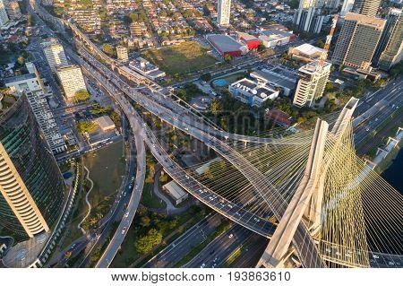 Top view of Estaiada bridge and skyscrapers in Marginal Pinheiros, Sao Paulo, Brazil