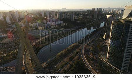 Aerial view of Estaiada bridge and skyscrapers in Marginal Pinheiros, Sao Paulo, Brazil