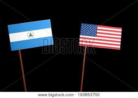 Nicaraguan Flag With Usa Flag Isolated On Black Background