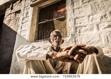 Portrait of a Rajasthani old man at a small village in India