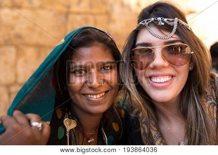 Tourist with an Indian gypsy girl, Jaisalmer, India