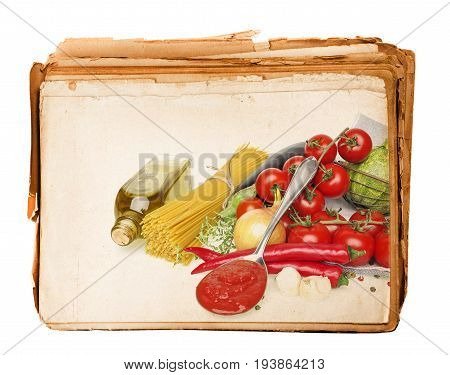 healthy vegetable food in an old book