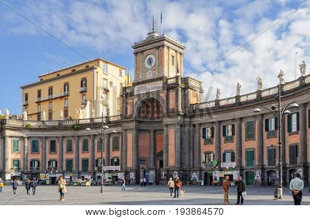 Dante Square is dominated by an ornate semicircular arrangement of columns and statues - Naples, Campania, Italy, 29 October 2011