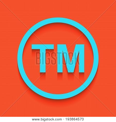 Trade mark sign. Vector. Whitish icon on brick wall as background.
