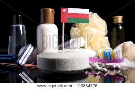 Omani Flag In The Soap With All The Products For The People Hygiene