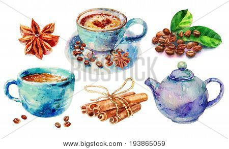 Watercolor Hand Work Original Coffee With Cinnamon Cappuccino Cinnamon Rolls And Teapot Illustration Isolated On White Background. Hand Drawn Collection Sketch Illustration Set With