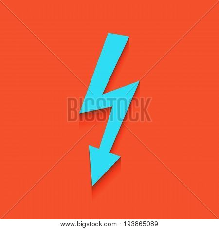 High voltage danger sign. Vector. Whitish icon on brick wall as background.
