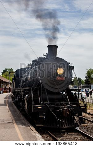 ESSEX - MAY: 24 Connecticut Valley Railroad Steam Train Locomotive in Essex,  Connecticut , USA on May 24, 2015