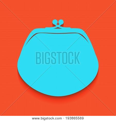 Purse sign illustration. Vector. Whitish icon on brick wall as background.