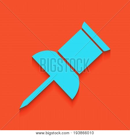 Pin push sign. Vector. Whitish icon on brick wall as background.