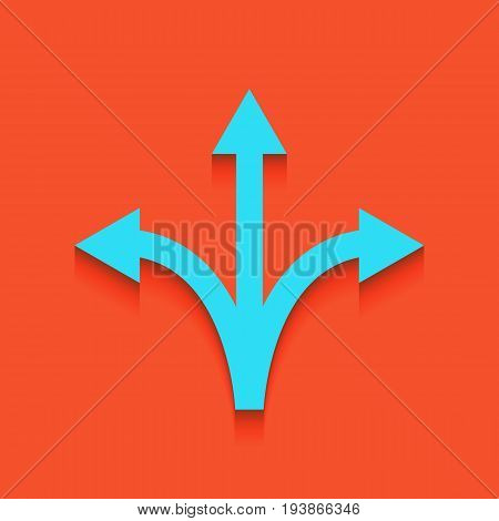 Three-way direction arrow sign. Vector. Whitish icon on brick wall as background.