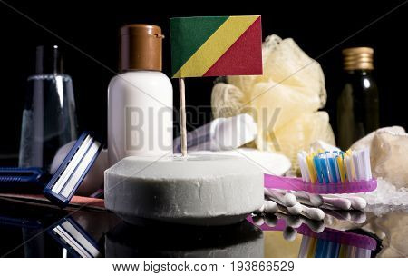 Republic Of The Congo Republic Of Congo Flag In The Soap With All The Products For The People Hygien