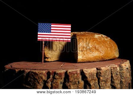 Usa Flag On A Stump With Bread Isolated