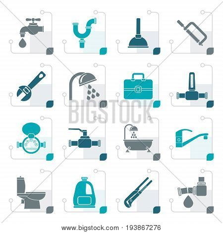 Stylized plumbing objects and tools icons - vector icon set