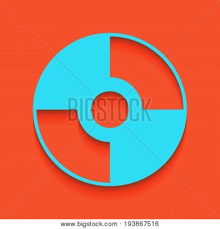 Vector CD or DVD sign. Vector. Whitish icon on brick wall as background.