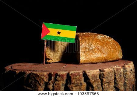 Sao Tome And Principe Flag On A Stump With Bread Isolated