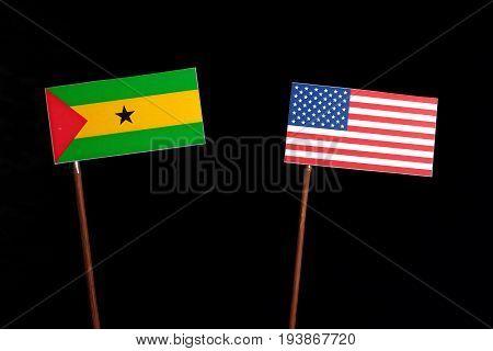 Sao Tome And Principe Flag With Usa Flag Isolated On Black Background