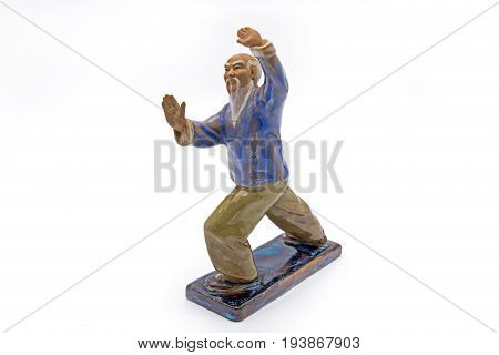 Chinese Old Man Dancing Tai Chi Statue Isolated on White Background