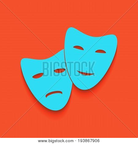 Theater icon with happy and sad masks. Vector. Whitish icon on brick wall as background.
