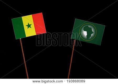 Senegal Flag With African Union Flag Isolated On Black Background