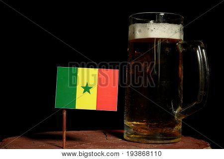 Senegal Flag With Beer Mug Isolated On Black Background
