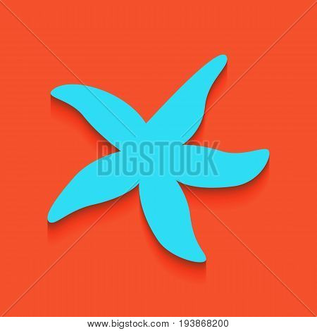 Sea star sign. Vector. Whitish icon on brick wall as background.