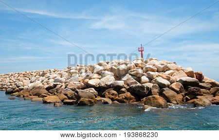 Breakwater For The Puerto San Jose Del Cabo Harbor / Marina In Baja Mexico Bcs