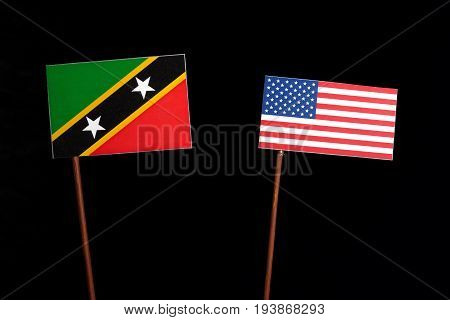 Saint Kitts And Nevis Flag With Usa Flag Isolated On Black Background